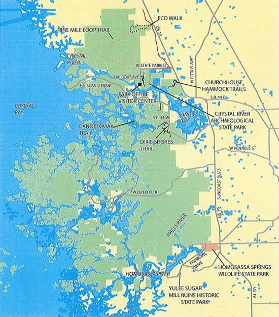 Crystal River Preserve State Park Map
