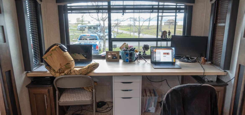 Home Office Dual Desk Setup: Inside RV Renovation: Dual Desk Office Setup