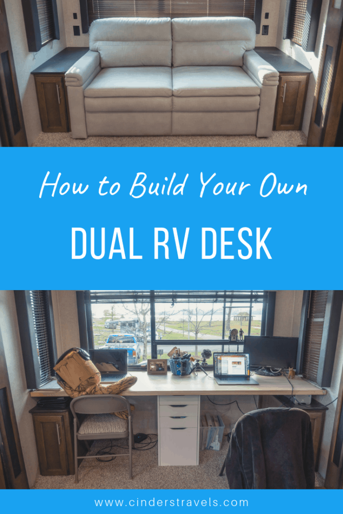 Inside RV Renovation: Dual Desk Office Setup | Cinders Travels