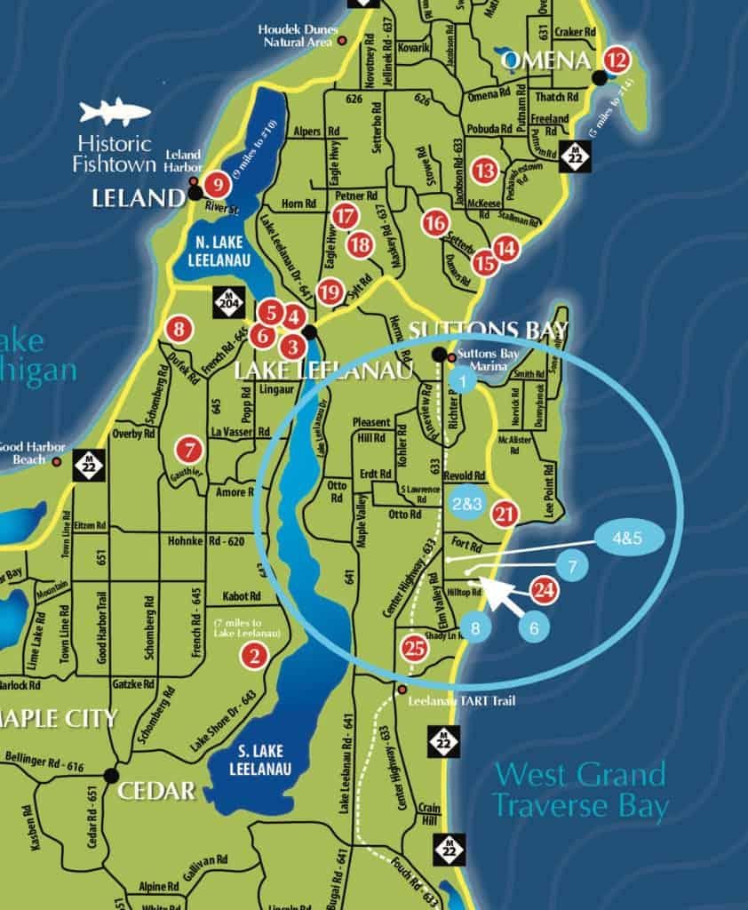 Traverse city wine tours map