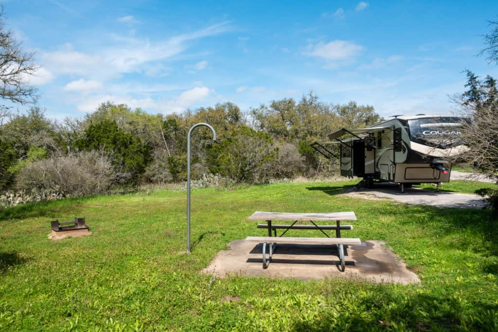 Our Mckinney Falls State Park campsite in Austin, Texas
