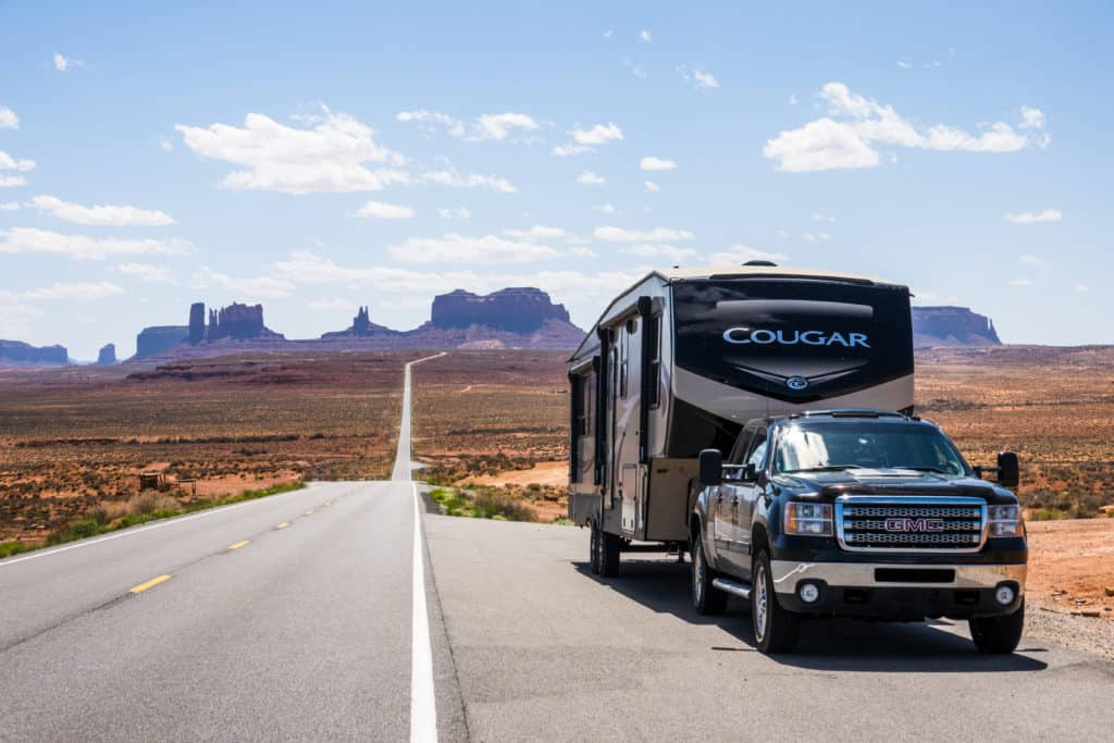 Cindy and Barrett's Cougar rig in Monument Valley
