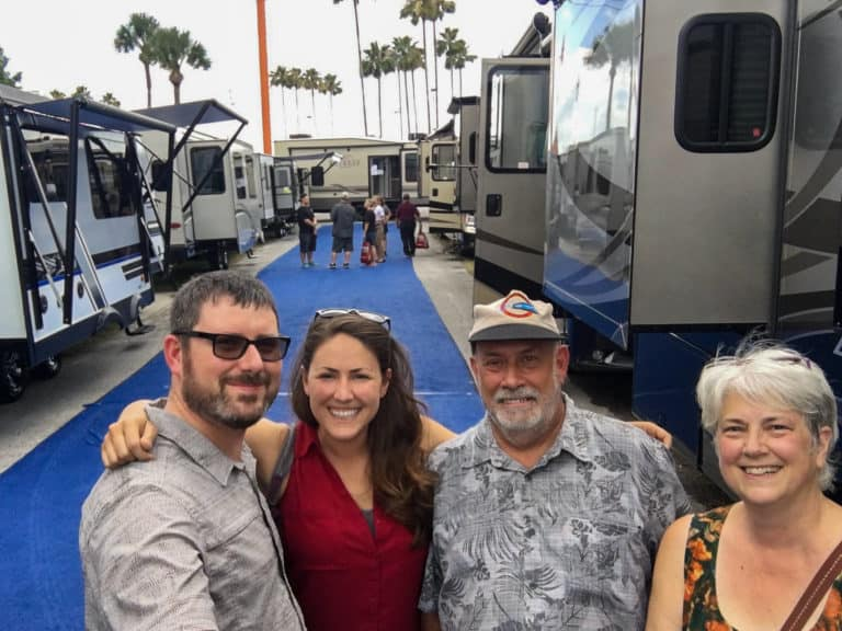 Barrett and Cindy at an RV show in Tampa with family