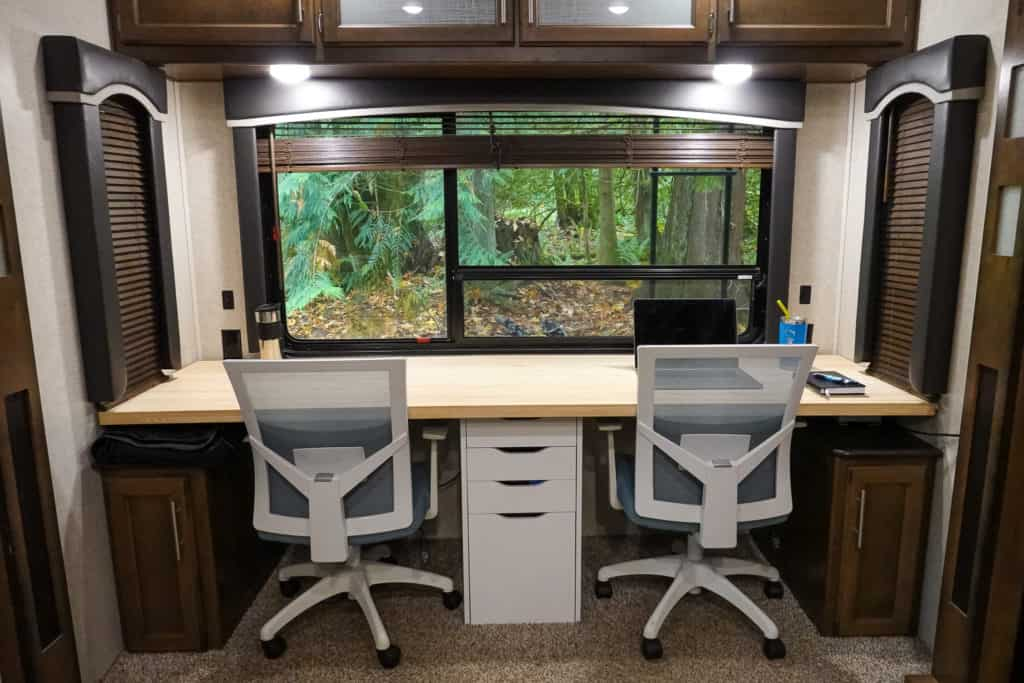 RV desk renovation with office chairs
