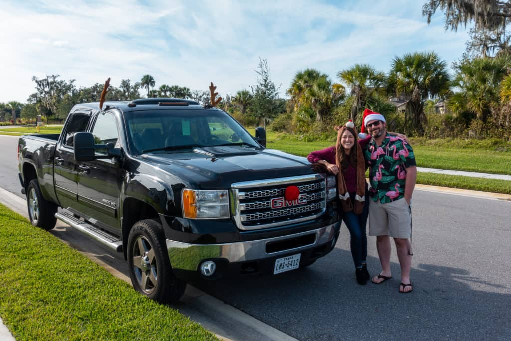 Cindy and Barrett with the GMC Truck
