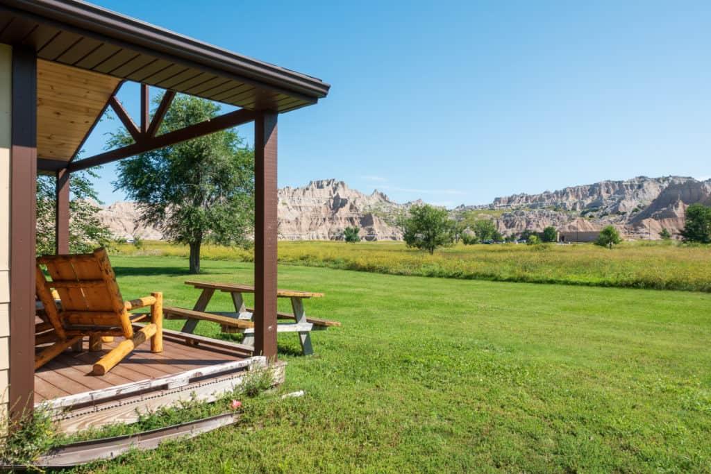 Backyard of Cedar Pass Lodge Cabin in the Badlands