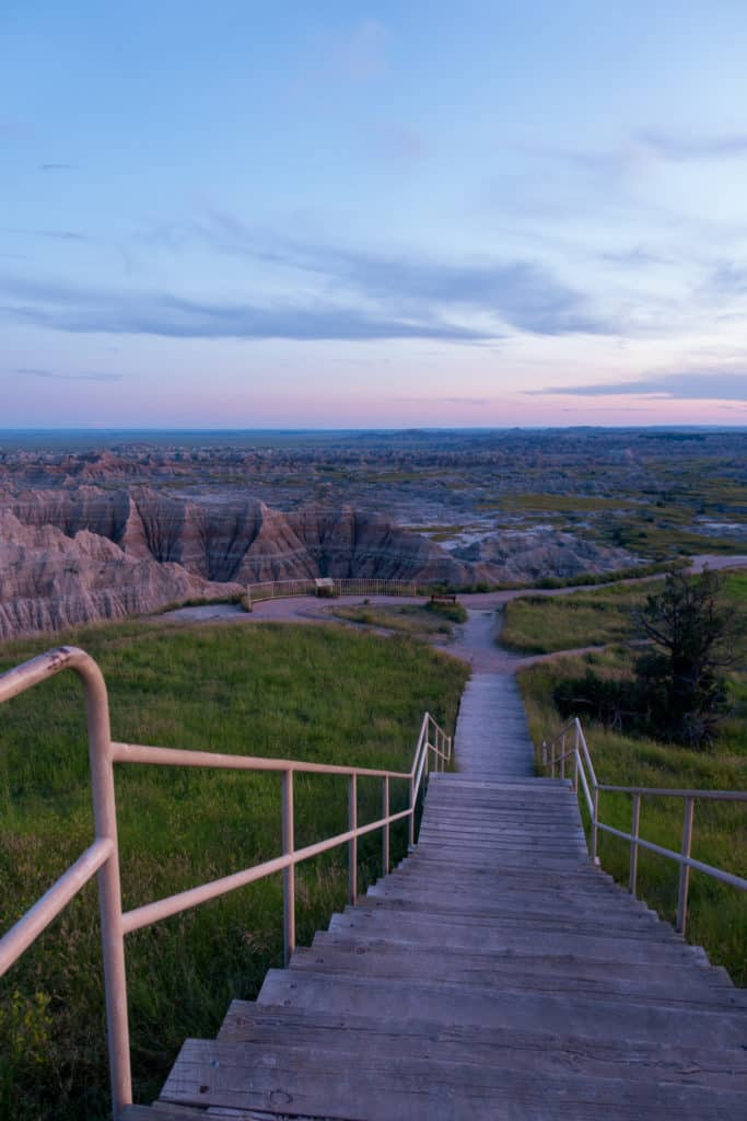 Badlands Sunset at Pinnacles Overlook Stairs