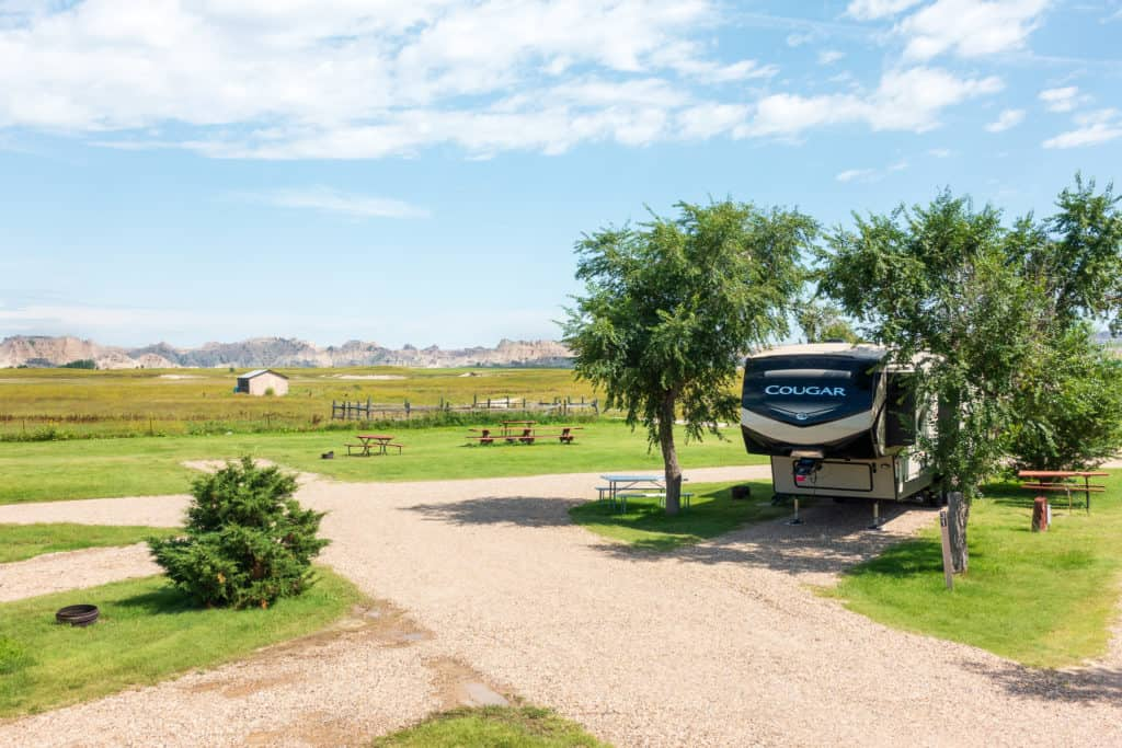 The camper parked outside of Badlands