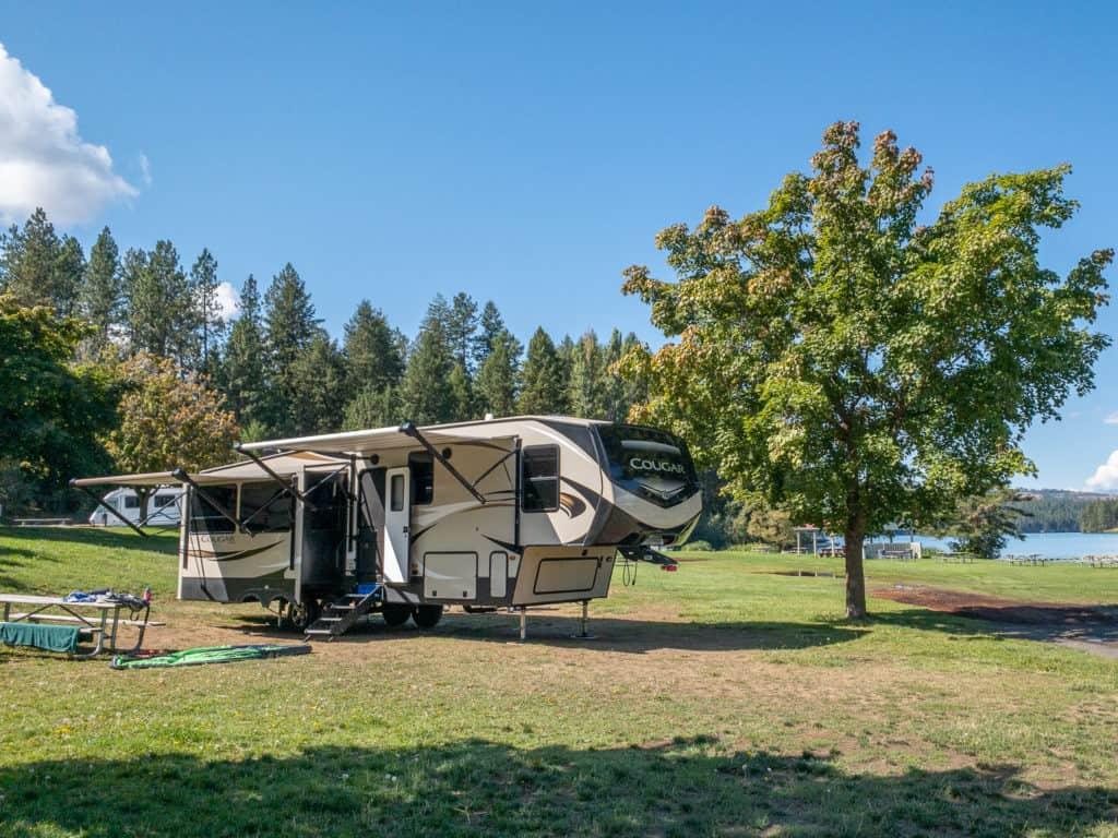 RV road trip camping spot