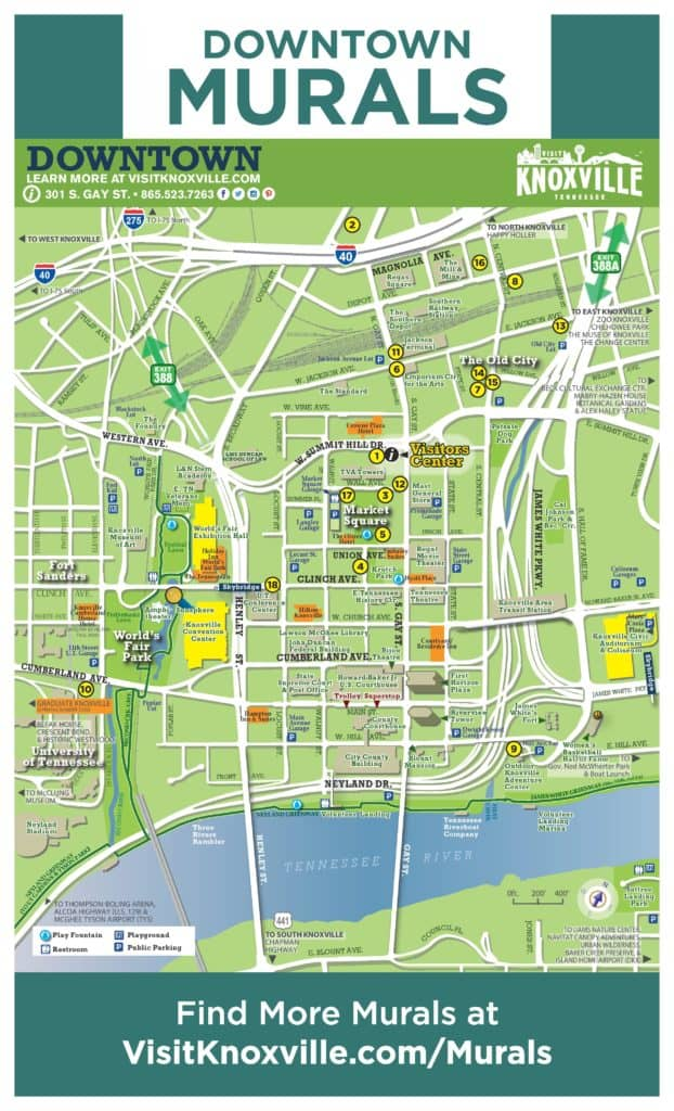 Knoxville Downtown Murals Guide Map