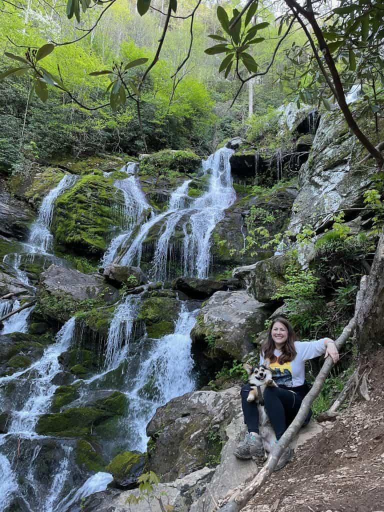 Cindy and Marty the Corgi at Catawba Falls